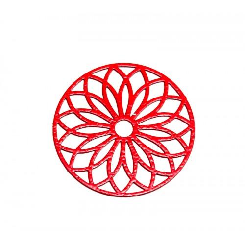 Μεταλλικό Ορειχάλκινο Μοτίφ Φιλιγκρί Στρογγυλό 24mm κοραλί  χρώμα τιμή ανα τεμάχιο