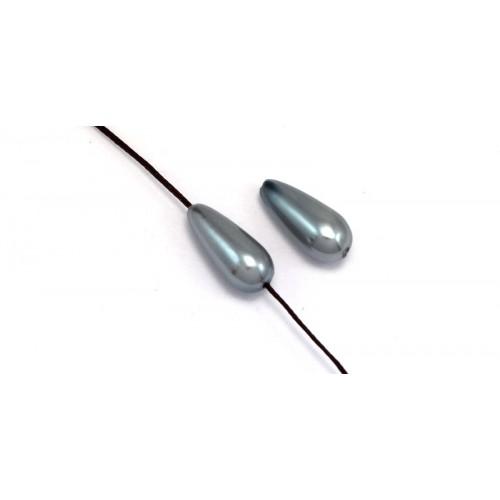 Πέρλα συνθετική 8x15mm σε σχήμα δάκρυ με κάθετη τρυπα- καταλληλη για κορδονι 1mm- σε γκρι  χρωμα τιμη ανα τεμάχιο