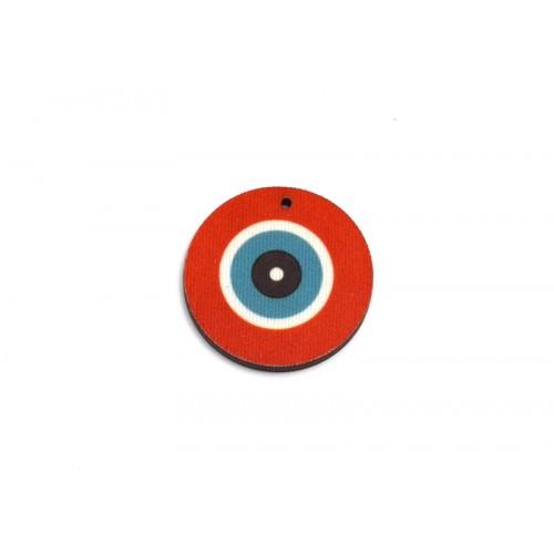 Στρογγυλό ΜΕΝΤΑΓΙΟΝ μεσαίο μάτι  35mm  από ξύλο και ύφασμα  σε πορτοκαλοκοραλί χρωμα τιμή ανα τεμάχιο