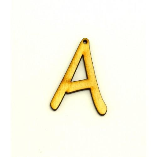"""Ξύλινο κρεμαστό γράμμα  5cm με τρύπα """"Α"""" Τιμή ανα τεμάχιο"""