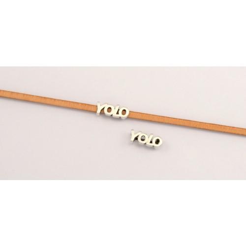 Μεταλλικό  περαστό  YOLO 15 x 6 mm  καταλληλο για πλακέ πολύ στενο κορδόνι-δέρμα 3x2mm σε ασημί αντικέ τιμή ανα τεμάχιο