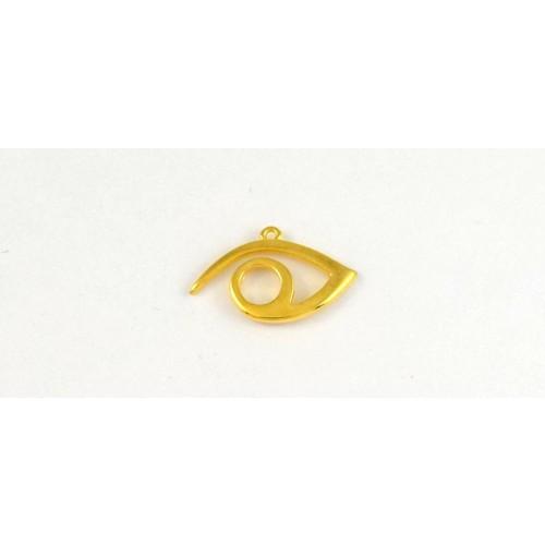 Μεταλλικό κρεμαστό μάτι περίγραμμα 28,2 x 17,3 mm  επίχρυσο τιμή ανα τεμάχιο