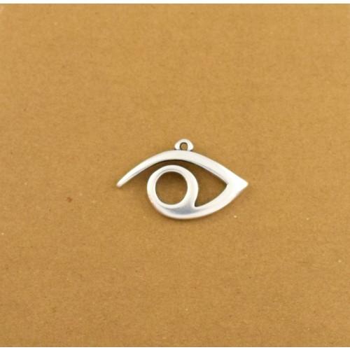 Μεταλλικό κρεμαστό μάτι περίγραμμα 28,2 x 17,3 mm  ασημί αντικέ τιμή ανα τεμάχιο