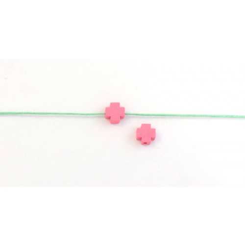 Ξύλινη χάντρα σταυρός 8mm με τρυπα 1.3mm σε ροζ χρώμα τιμή ανα τεμάχιο