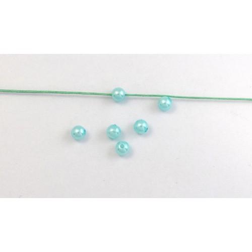 Στρογγυλή πέρλα 6mm σε ανοιχτό τυρκουάζ χρώμα τιμη ανα σετ 5 τεμαχιων