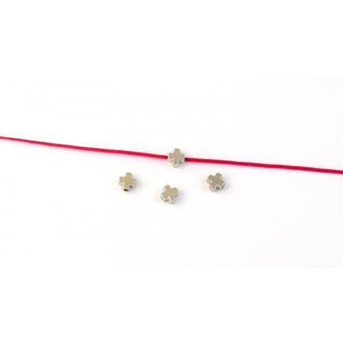 Μεταλλικος περαστός σταυρός ΜΙΝΙ  5mm σε ασημί τιμή ανα τεμάχιο
