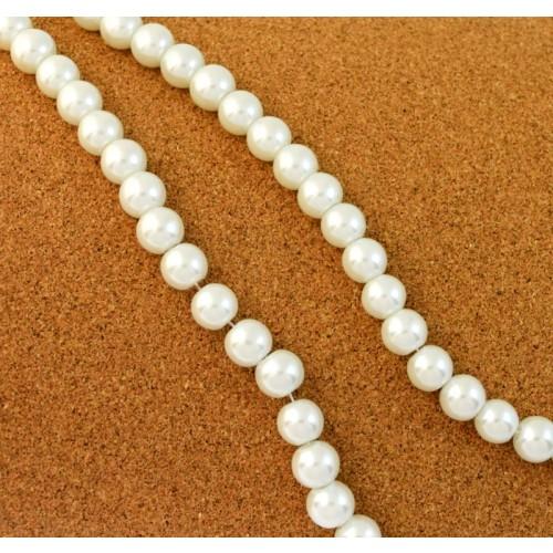 Γυάλινη πέρλα λευκή ΜΕΓ:±10mm με τρυπα ±1mm τιμή ανα χάντρα