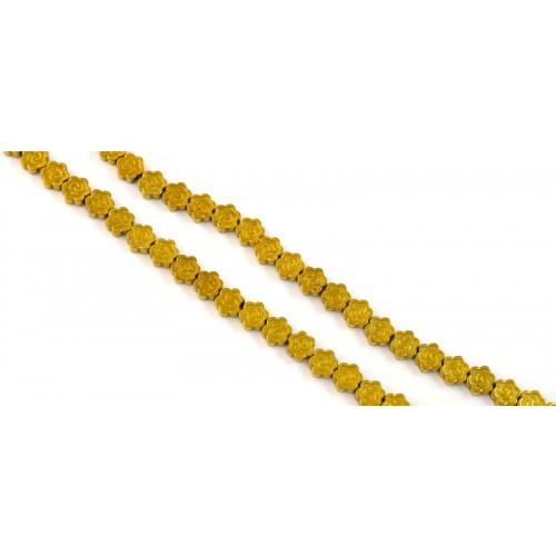 Χάντρα λουλούδι Αιματίτης πλακέ  3x6mm σε χρυσαφί  τιμή ανα τεμάχιο(ανα χάντρα)
