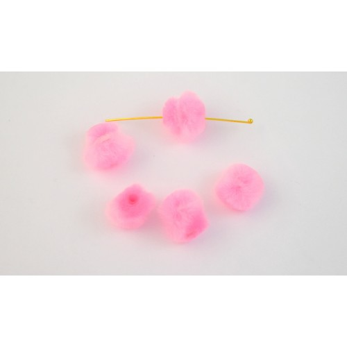 Πον πον  ακρυλικό 15mm με εσωτερικό σωληνάκι σε ροζ χρώμα τιμή ανα τεμάχιο