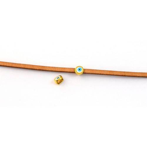 Μεταλλικό μικρό στρογγυλό περαστο μοτιφ μάτι 6mm για πλακέ κορδόνι 3x2mm με λευκό -γαλάζιο σμάλτο σε επίχρυσο τιμή ανα τεμάχιο