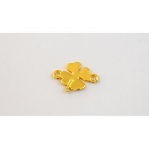 Μεταλλικό μικρό, μοτίφ τετράφυλλο 12mm με 2 κρικάκια σε επίχρυσο τιμή ανα τεμάχιο