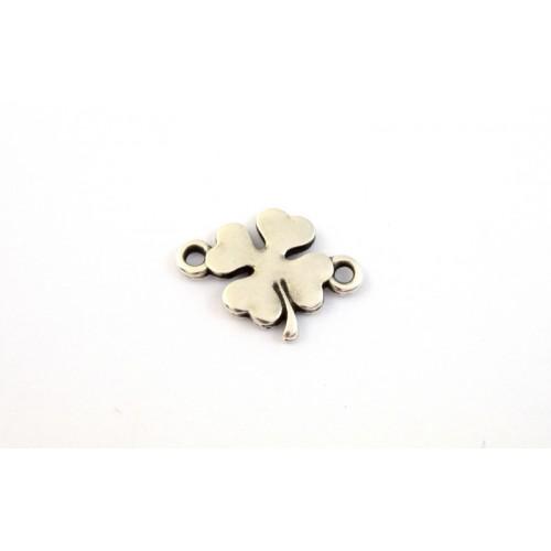 Μεταλλικό,μικρό  μοτίφ τετράφυλλο 12mm με 2 κρικάκια σε ασημί αντικέ τιμή ανα τεμάχιο