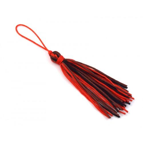 Μεσαια υφασμάτινη τρίχρωμη κοκκινο-καφέ-μαύρο φούντα καταλληλη για να διακοσμησετε τα γουρια σας-μάκρος φουντας χωρις το κορδόνι 7cm τιμη ανα τεμάχιο