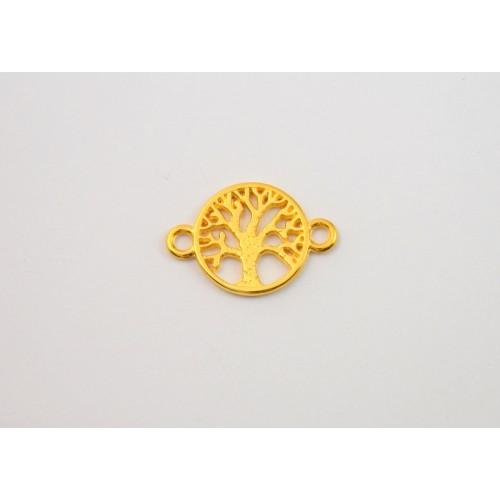 Μεταλλικό στρογγυλο μοτίφ ΔΙΑΜ:±15,5mm  δέντρο ζωής  σε χρυσαφί τιμή ανα τεμάχιο
