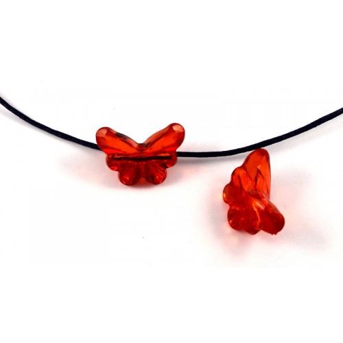 Χάντρα ακρυλική πεταλούδα μεσαία  σε κόκκινο χρωμα τρύπα πίσω -ανα τεμάχιο