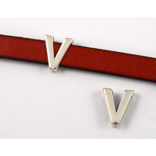 """Μεταλλικό περαστό γράμμα """"V"""" ή """"Λ""""  σε ασημί αντικέ-ανα τεμάχιο"""