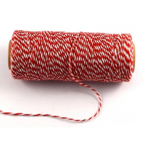 Bαμβακερό δίχρωμο κορδόνι λεπτό 1mm σε λευκό-κοκκινο τιμή ανα μέτρο
