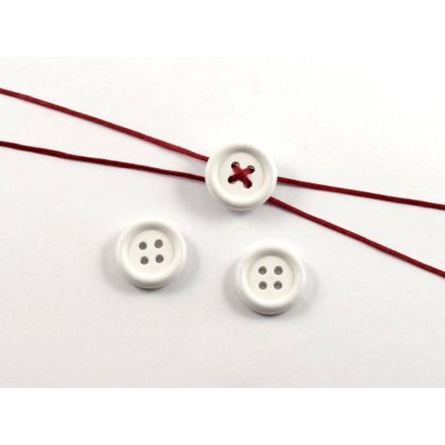 Ξύλινο στρογγυλό κουμπί 15mm σε λευκό τιμή ανα τεμάχιο