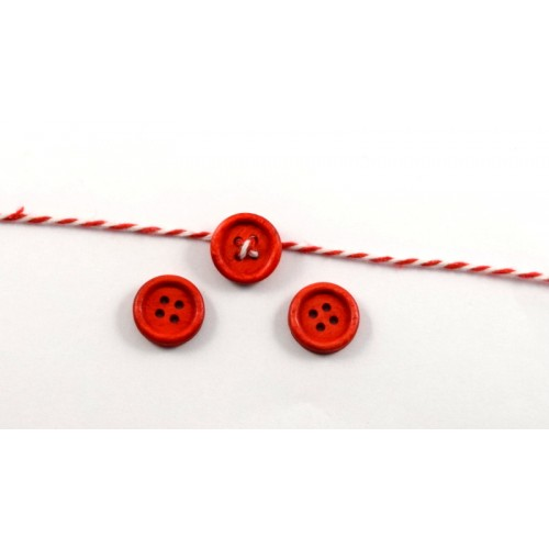 Ξύλινο στρογγυλό κουμπί 15mm σε κόκκινο τιμή ανα τεμάχιο