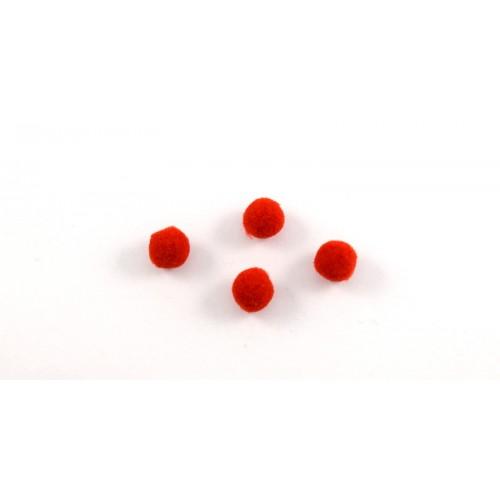 Μικρό πον πον συνθετικό 10mm σε κόκκινο  χρωμα τιμή ανα σετ των 2 τεμαχιων