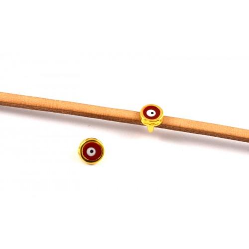 Περαστό μίνι ματάκι 6mm για πλακε κορδόνι σε κόκκινο-λευκό σμάλτο