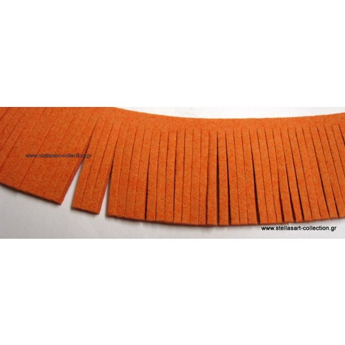 Τρέσα σουέτ με κρόσια σε πορτοκαλί χρώμα 28mm     τιμη ανα τεμάχιο 20cm