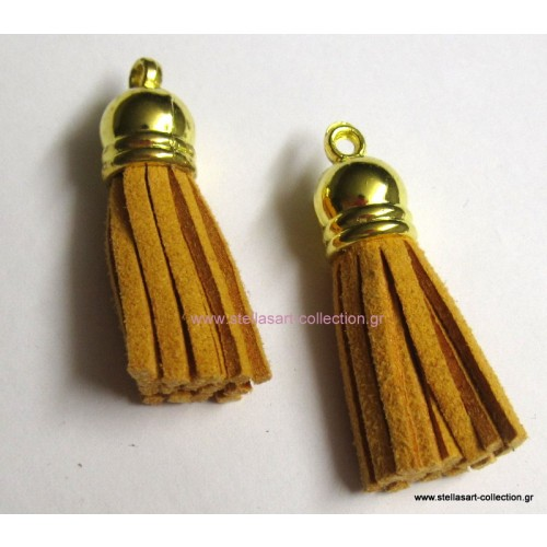 Φούντα 36mm με κρόσια από πορτοκαλοκίτρινο  σουετ και χρυσαφί καπελάκι     τιμη ανα τεμάχιο