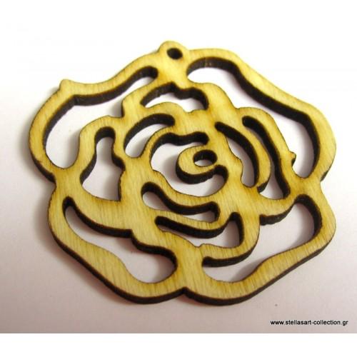 Ξυλινο λουλούδι σε φυσικό χρωμα 44x49mm     τιμη ανα τεμάχιο