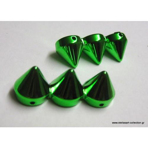Τριπλό καρφί-πυραμίδα 12x34mm από ccb με δυο τρυπούλες για να περάσουμε σιλικονη ή ατσαλοσυρμα για ελαστικα βραχιολάκια σε πράσινο     τιμη ανα τεμάχιο