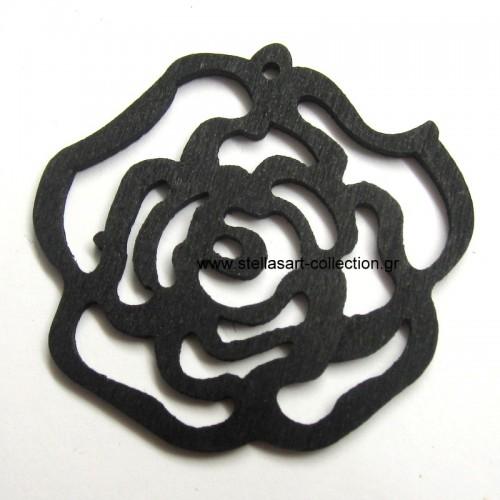 Ξυλινο λουλούδι σε μαύρο  χρωμα 44x49mm τιμη ανα τεμάχιο