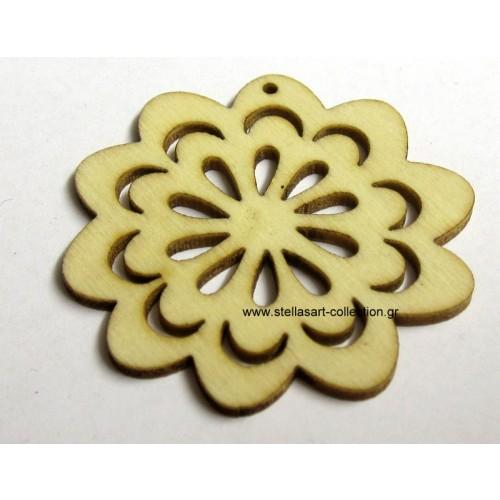 Ξυλινο λουλούδι σε φυσικό χρωμα  46mm τιμη ανα τεμάχιο