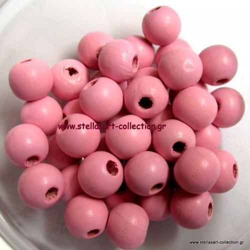 Στρογγυλο ξύλινη χάντρα 12mm σε ροζ χρωμα     τιμη ανα τεμάχιο