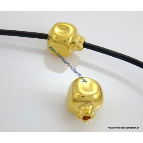 Μεταλλική χάντρα ρόδι 10 x 14 mm Ø2,5 σε χρυσό γυαλιστερό τιμη ανα τεμάχιο