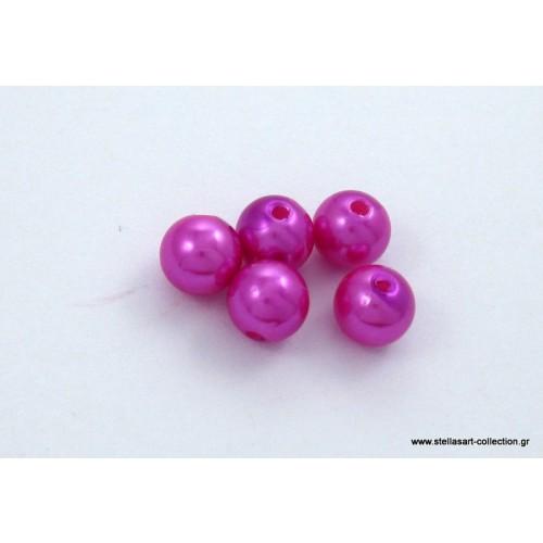 Στρογγυλή πέρλα 8mm σε φούξια χρώμα     τιμη ανα σετ 2 τεμαχιων