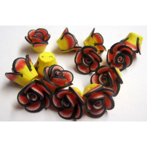 Τριαντάφυλλο fimo διάτρητο 10mm κίτρινο με κοκκινες και μαυρες λεπτομέρειες