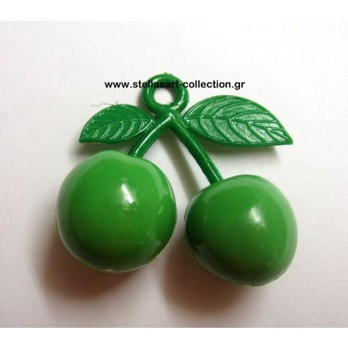 Φρούτο ακρυλικά κερασάκια πράσινα  40mm     Τιμή ανα τεμάχιο