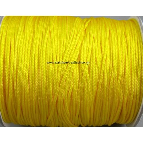 Κορδόνι σε κιτρινο χρώμα 1mm κατάλληλο για πλεξιματα-μακραμέ Τιμή ανα μέτρο