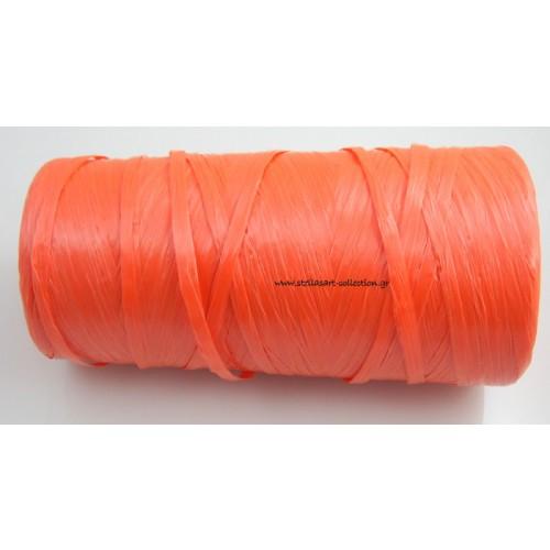 Απομίμηση ψάθας περιπου 270μετρα (240γρμ)σε πορτοκαλί χρώμα     τιμη ανα καρούλι(~270μετρα)
