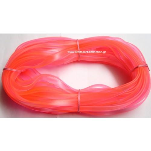 Πλακέ φαρδύ καουτσούκ 10x2.2mm σε ροζ ημιδιάφανο     Η τιμή είναι ανα μέτρο