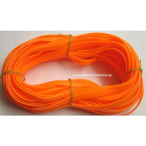 Πλακέ φαρδύ καουτσούκ 10x2.2mm σε πορτοκαλί φλούο     Η τιμή είναι ανα μέτρο