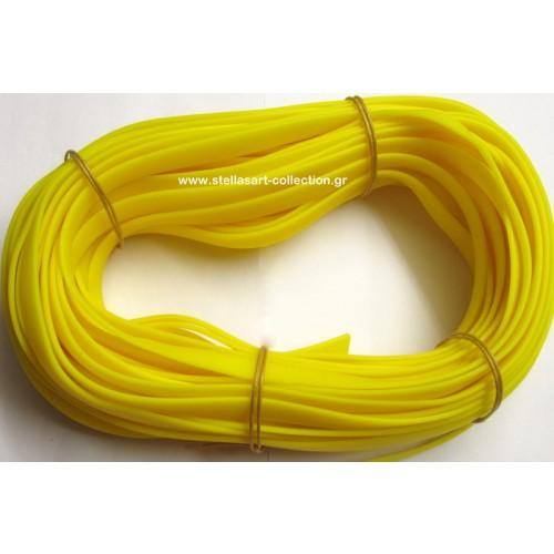 Πλακέ φαρδύ καουτσούκ 10x2.2mm σε κίτρινο ματ     Η τιμή είναι ανα μέτρο