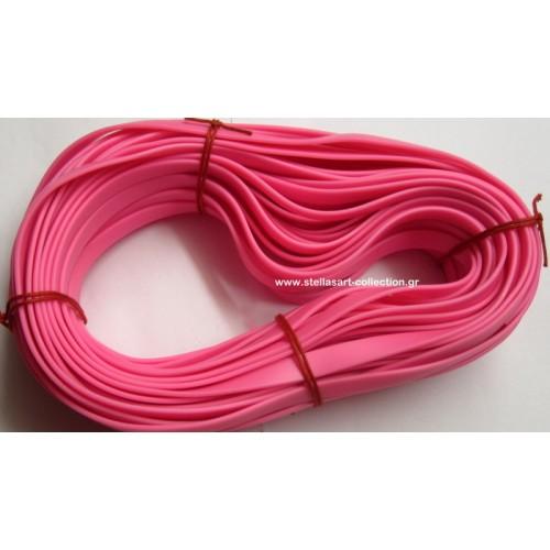 Πλακέ φαρδύ καουτσούκ 10x2.2mm σε ροζ εντονο     Η τιμή είναι ανα μέτρο