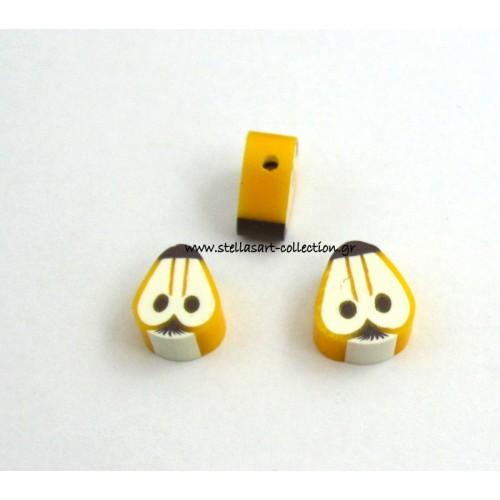 Fimo  μικρά φρουτάκια σε φέτα αχλαδιού 10mm-Η τιμή είναι ανα τεμάχιο