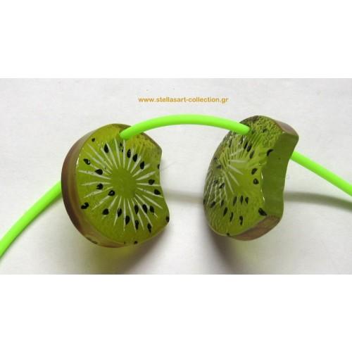 Φρούτο μεσαία  φέτα ακτινίδιο  από ρητίνη 28mm     τιμή ανα τεμάχιο