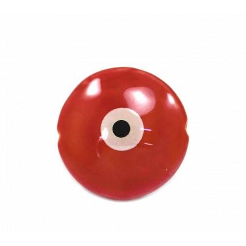 Κεραμική,στρογγυλή,χάντρα μάτι  σε κόκκινο χρώμα τιμή ανα τεμάχιο