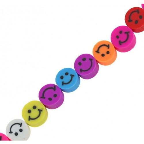 Χάντρες φίμο πολύχρωμες με χαμογελαστή φατσούλα 9mm τιμή ανα σειρά