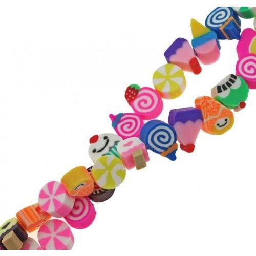 Χάντρες φίμο πολύχρωμες με γλυκάκια 10mm-ανα σειρά