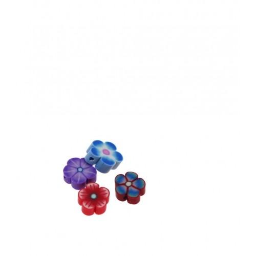 Χάντρες φίμο λουλουδάκια διάφορα τιμή ανα συσκευασία των 10τεμαχίων
