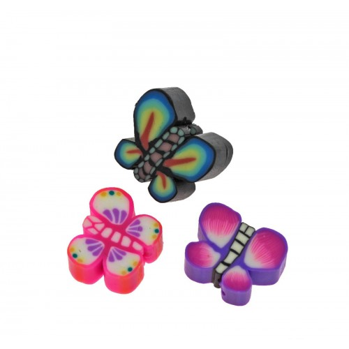 Περαστή πεταλουδα fimo 10mm  σε διάφορα χρώματα. Τιμή ανα τεμάχιο
