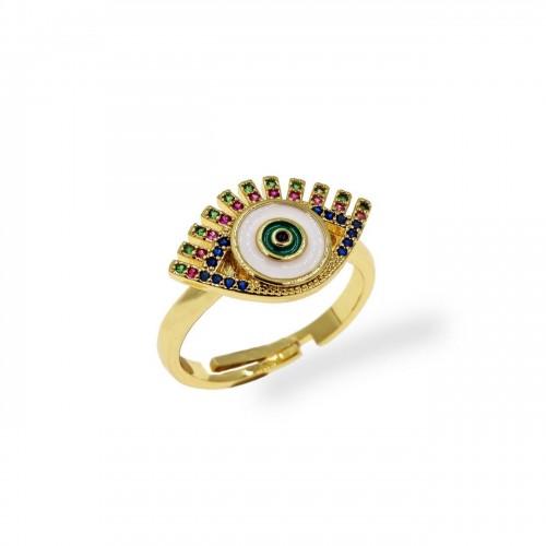 Δαχτυλίδι μπρούτζινο μάτι με λευκό σμάλτο & ζιργκόν